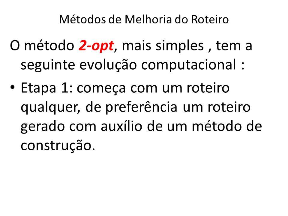 Métodos de Melhoria do Roteiro O método 2-opt, mais simples, tem a seguinte evolução computacional : Etapa 1: começa com um roteiro qualquer, de prefe