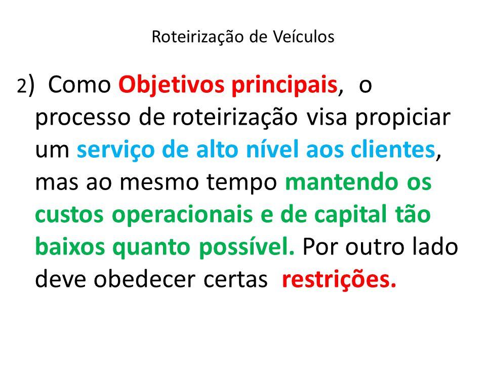 Roteirização Com Restrições O Método da Varredura consta da seguinte sequência de procedimento( cont.): Etapa 3.