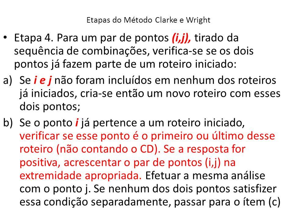 Etapas do Método Clarke e Wright Etapa 4. Para um par de pontos (i,j), tirado da sequência de combinações, verifica-se se os dois pontos já fazem part