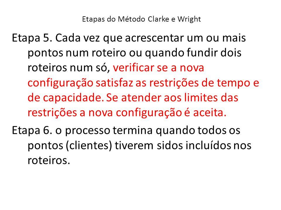 Etapas do Método Clarke e Wright Etapa 5. Cada vez que acrescentar um ou mais pontos num roteiro ou quando fundir dois roteiros num só, verificar se a