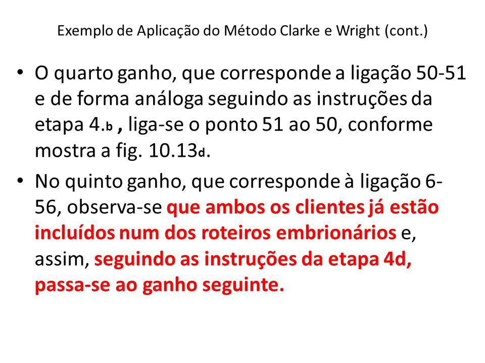 Exemplo de Aplicação do Método Clarke e Wright (cont.) O quarto ganho, que corresponde a ligação 50-51 e de forma análoga seguindo as instruções da et