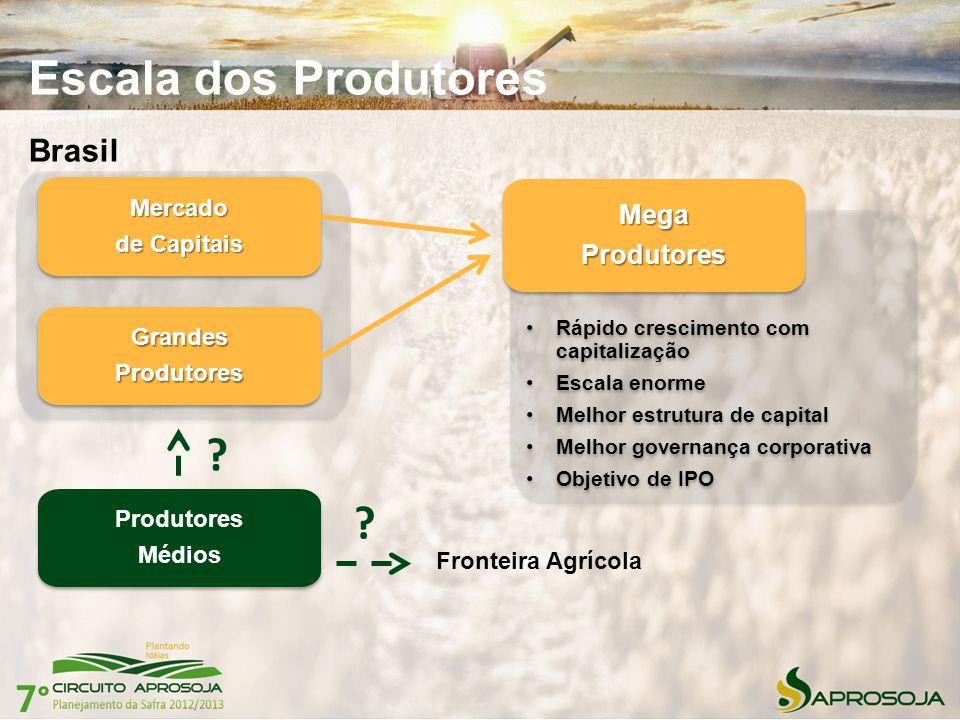 Escala dos Produtores Brasil Rápido crescimento com capitalização Escala enorme Melhor estrutura de capital Melhor governança corporativa Objetivo de
