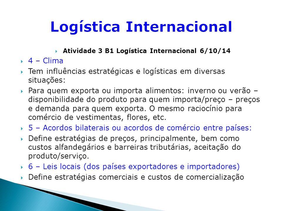  Atividade 3 B1 Logística Internacional 6/10/14  7 – Religião  Define a aceitação ou não, de um determinado produto/serviço em função de valores religiosos.