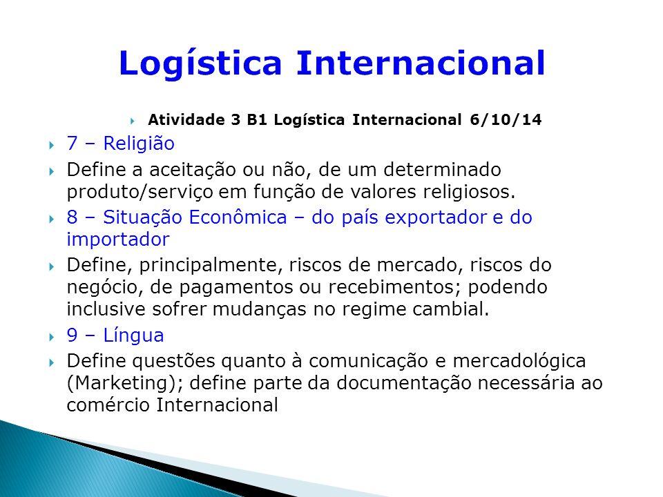  Atividade 3 B1 Logística Internacional 6/10/14  10 – Barreiras tarifárias e não-tarifárias  Define custos/preços, necessidades de cumprimento de exigências legais, documentações necessárias, etc.