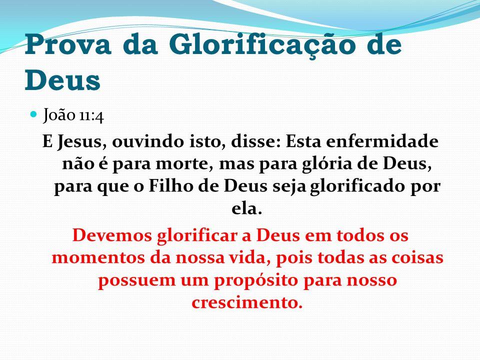 Prova da Glorificação de Deus João 11:4 E Jesus, ouvindo isto, disse: Esta enfermidade não é para morte, mas para glória de Deus, para que o Filho de