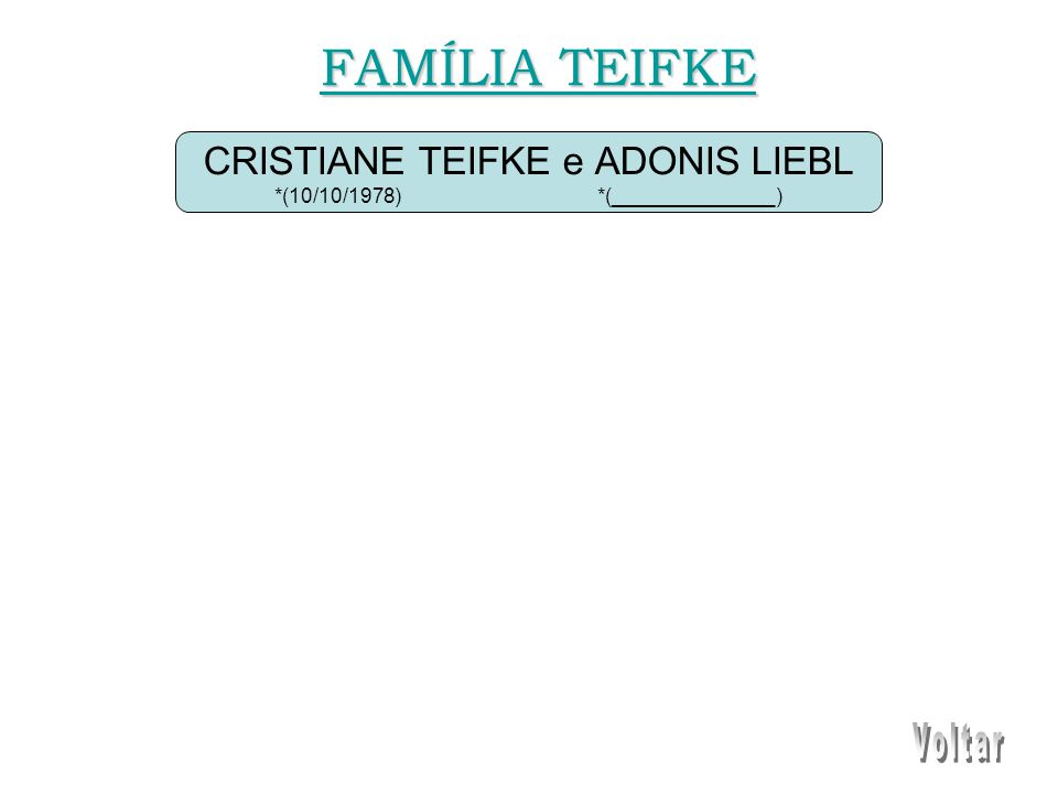 CRISTIANE TEIFKE e ADONIS LIEBL *(10/10/1978) *(______________) FAMÍLIA TEIFKE FAMÍLIA TEIFKE