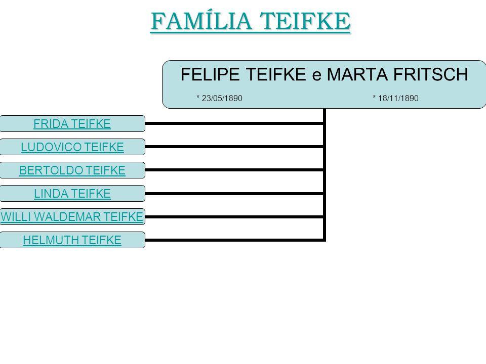 FELIPE TEIFKE e MARTA FRITSCH * 23/05/1890 * 18/11/1890 FRIDA TEIFKE LUDOVICO TEIFKE BERTOLDO TEIFKE LINDA TEIFKE WILLI WALDEMAR TEIFKE HELMUTH TEIFKE FAMÍLIA TEIFKE FAMÍLIA TEIFKE