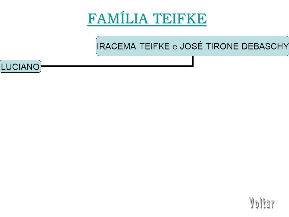 IRACEMA TEIFKE e JOSÉ TIRONE DEBASCHY LUCIANO FAMÍLIA TEIFKE FAMÍLIA TEIFKE