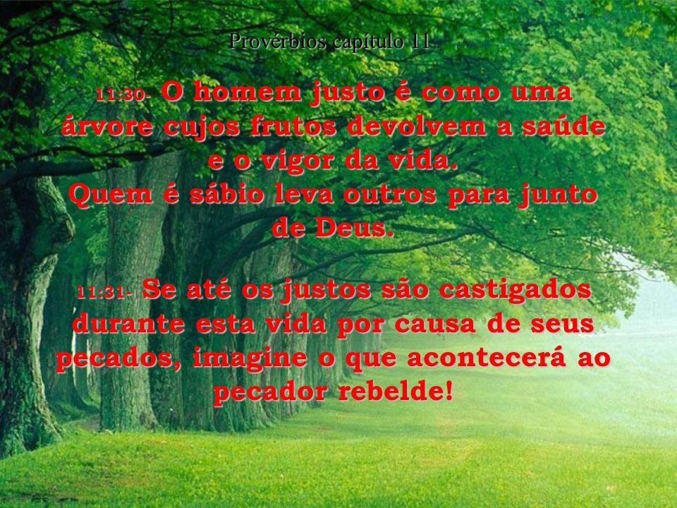11:20- O Senhor detesta o homem desobediente e rebelde mas se alegra com as pessoas sinceras e obedientes. 11:21- Com toda a certeza, o perverso não e