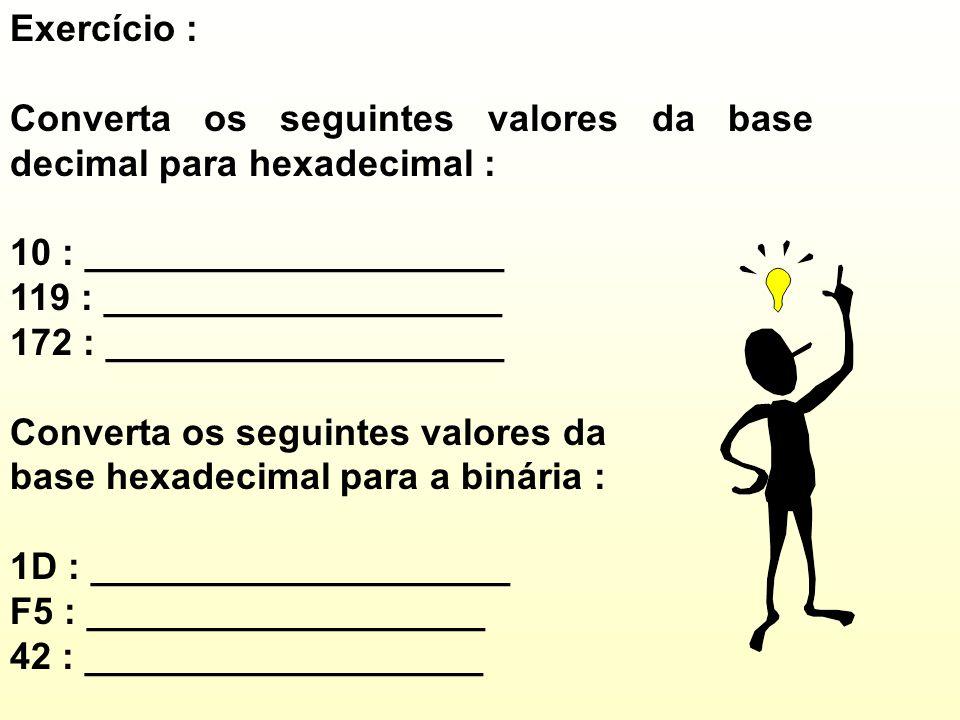 Exercício : Converta os seguintes valores da base decimal para hexadecimal : 10 : ____________________ 119 : ___________________ 172 : ___________________ Converta os seguintes valores da base hexadecimal para a binária : 1D : ____________________ F5 : ___________________ 42 : ___________________