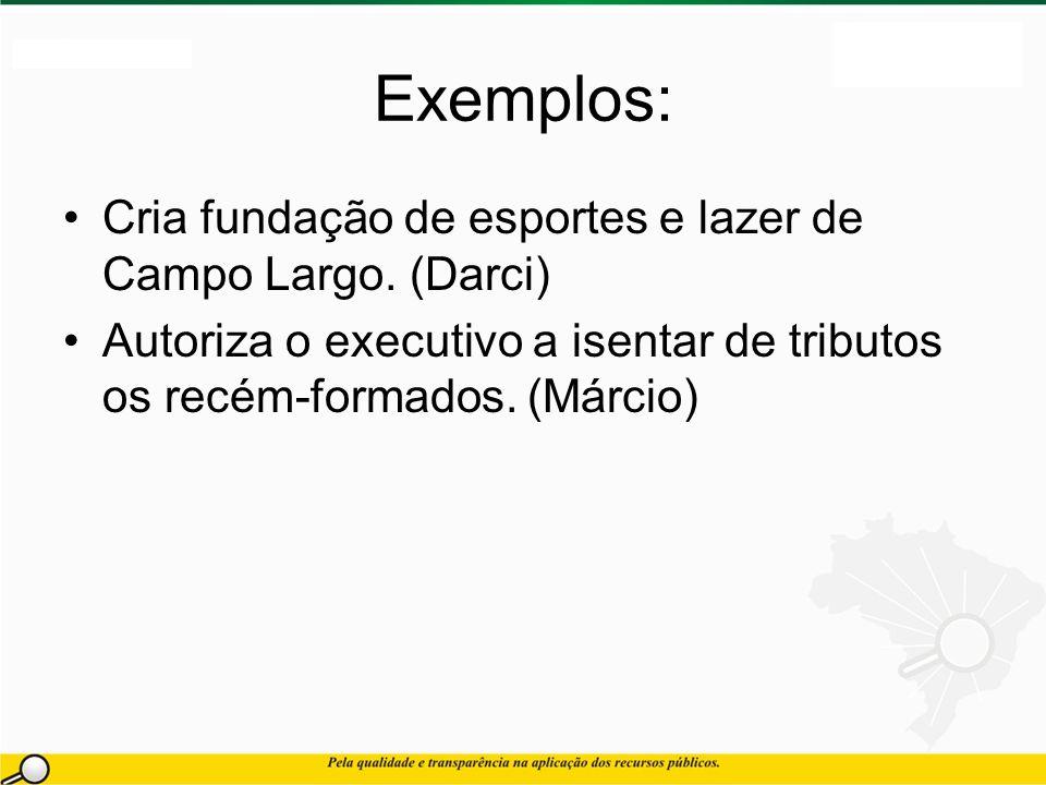 Exemplos: Cria fundação de esportes e lazer de Campo Largo.