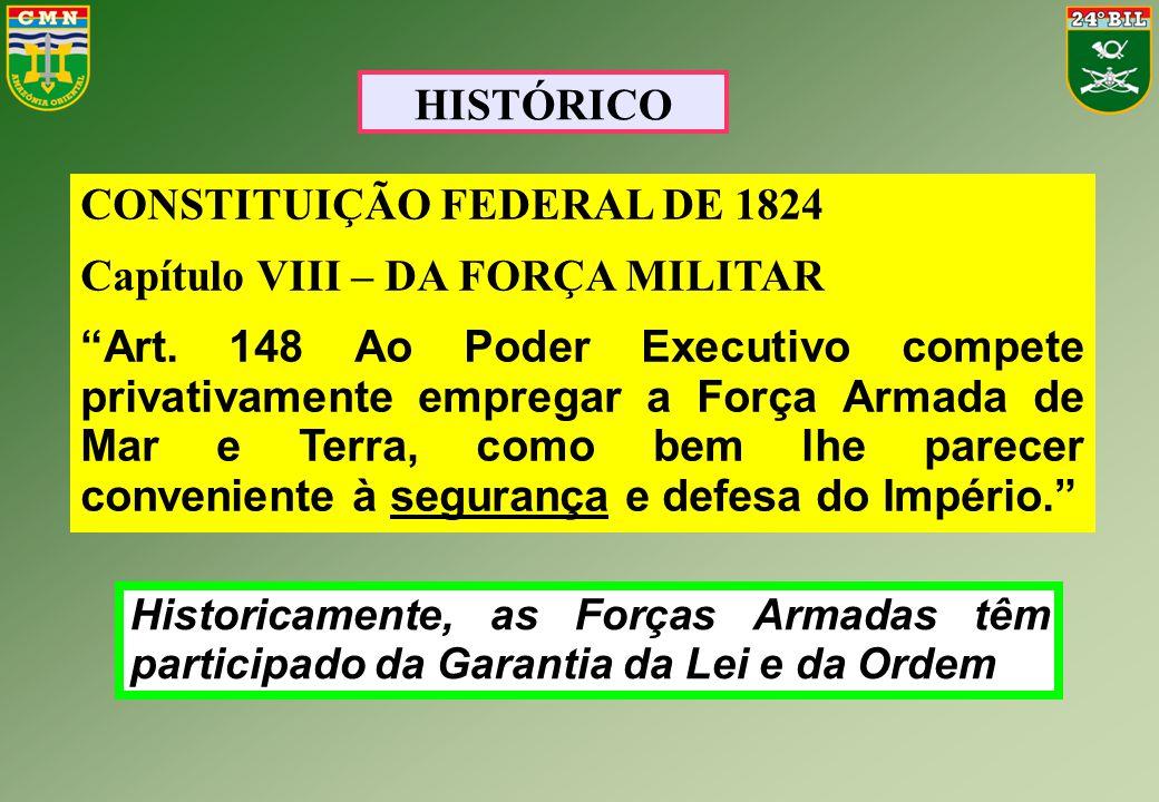 """HISTÓRICO CONSTITUIÇÃO FEDERAL DE 1824 Capítulo VIII – DA FORÇA MILITAR """"Art. 148 Ao Poder Executivo compete privativamente empregar a Força Armada de"""