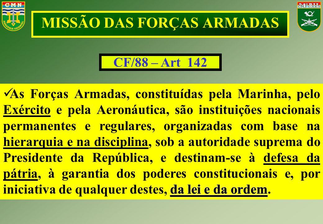 MISSÃO DAS FORÇAS ARMADAS CF/88 – Art 142