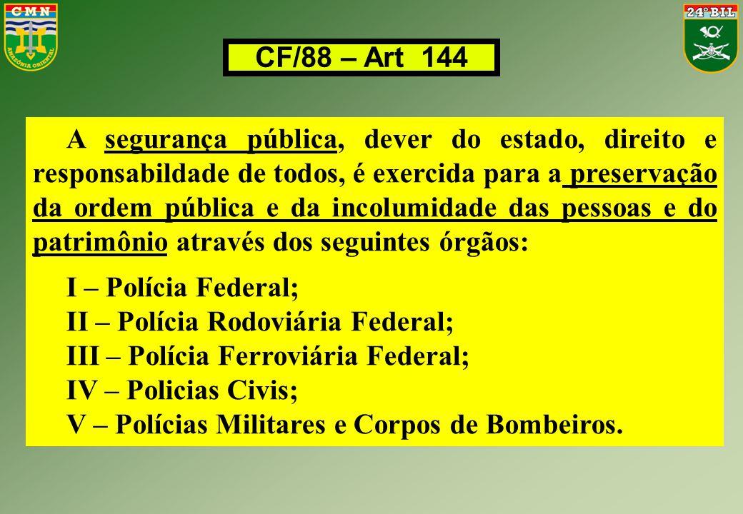 CF/88 – Art 144 A segurança pública, dever do estado, direito e responsabildade de todos, é exercida para a preservação da ordem pública e da incolumi