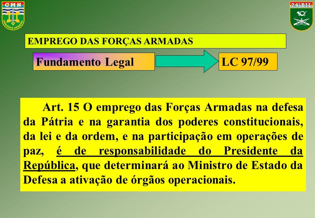 EMPREGO DAS FORÇAS ARMADAS Fundamento Legal Art. 15 O emprego das Forças Armadas na defesa da Pátria e na garantia dos poderes constitucionais, da lei
