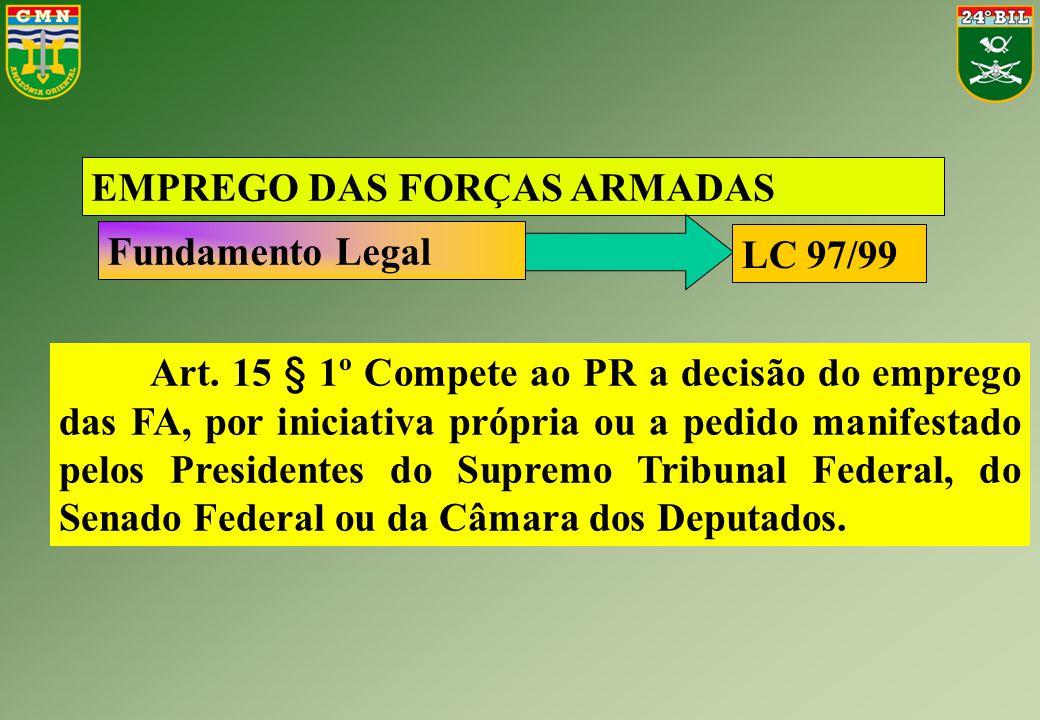 Art. 15 § 1º Compete ao PR a decisão do emprego das FA, por iniciativa própria ou a pedido manifestado pelos Presidentes do Supremo Tribunal Federal,