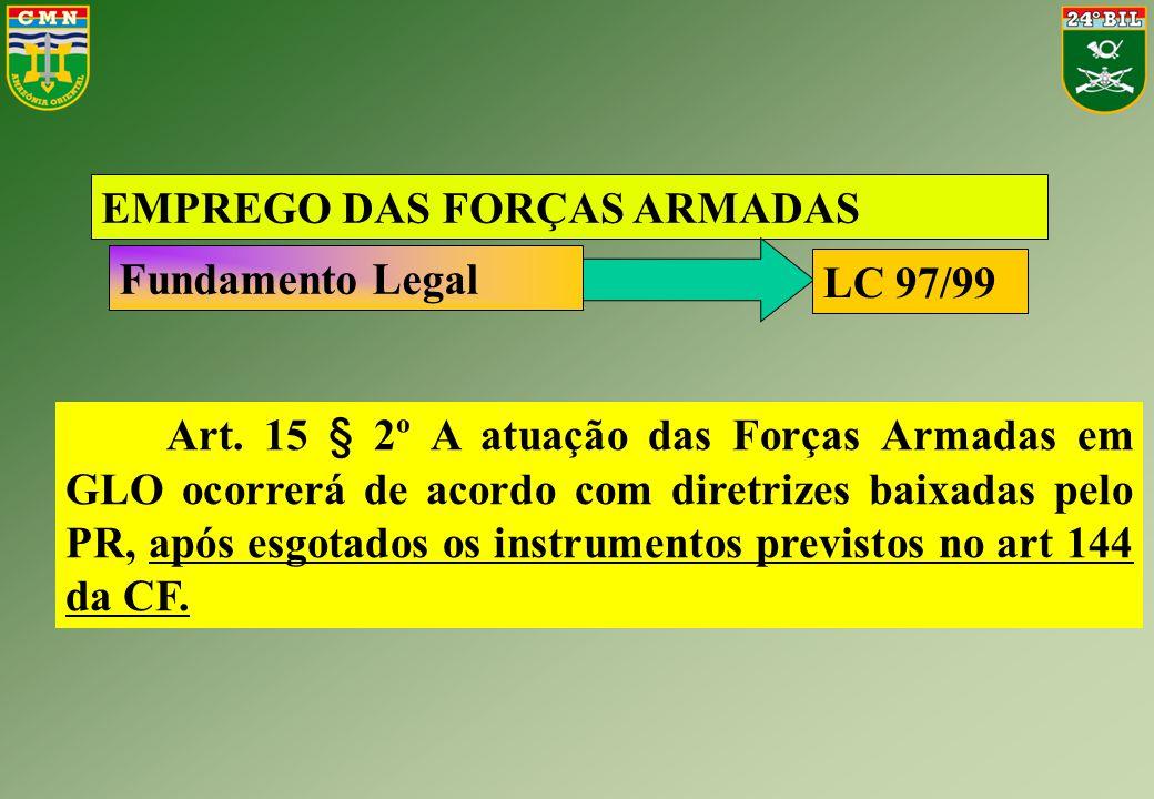 Art. 15 § 2º A atuação das Forças Armadas em GLO ocorrerá de acordo com diretrizes baixadas pelo PR, após esgotados os instrumentos previstos no art 1