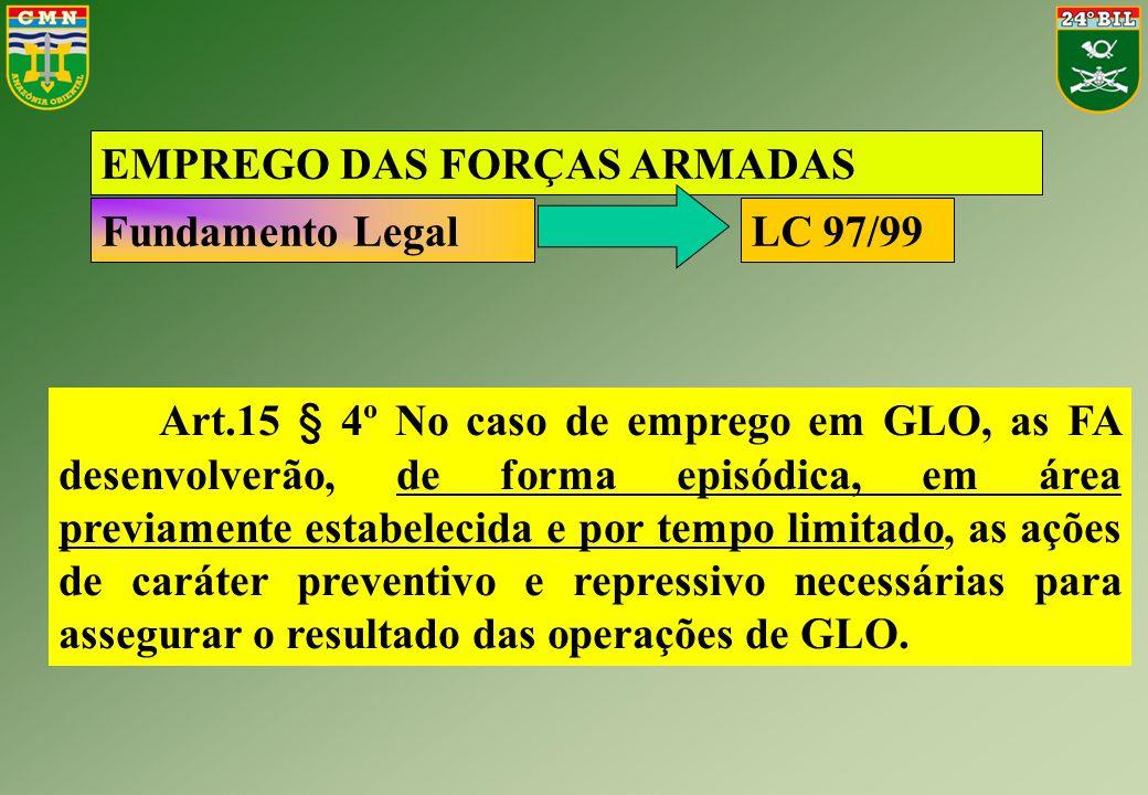Art.15 § 4º No caso de emprego em GLO, as FA desenvolverão, de forma episódica, em área previamente estabelecida e por tempo limitado, as ações de car