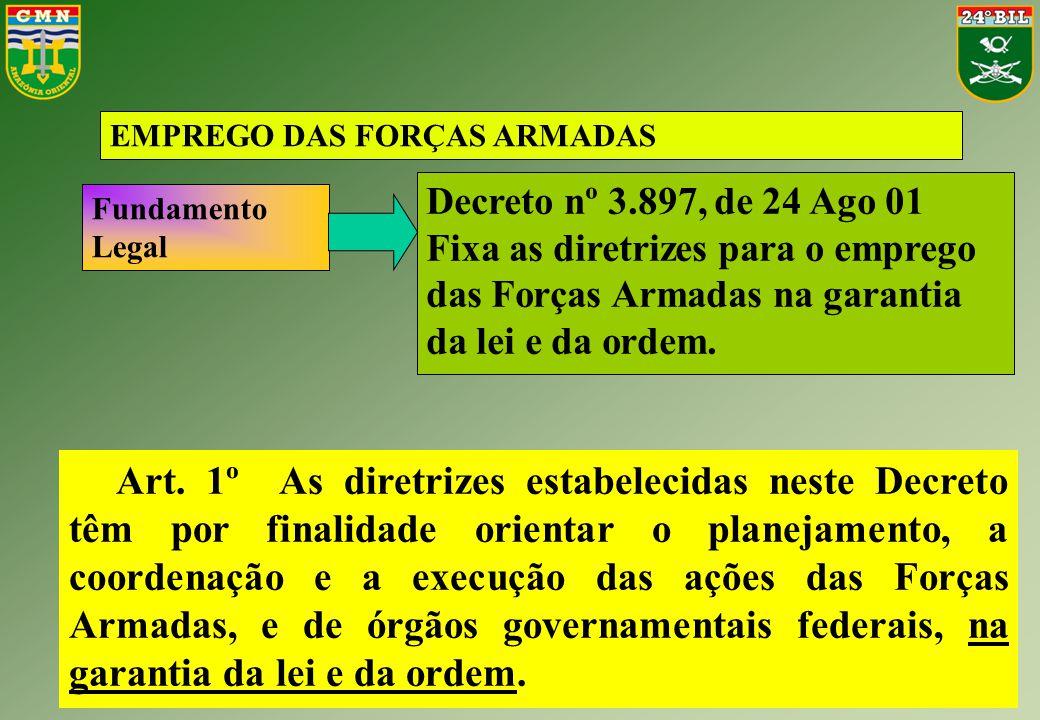 EMPREGO DAS FORÇAS ARMADAS Fundamento Legal Decreto nº 3.897, de 24 Ago 01 Fixa as diretrizes para o emprego das Forças Armadas na garantia da lei e d