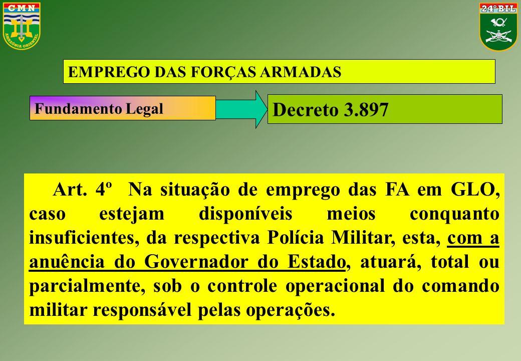 EMPREGO DAS FORÇAS ARMADAS Art. 4º Na situação de emprego das FA em GLO, caso estejam disponíveis meios conquanto insuficientes, da respectiva Polícia