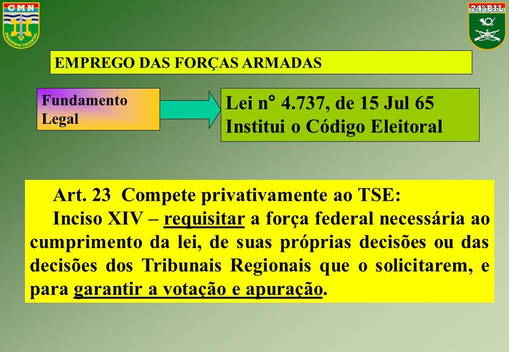 EMPREGO DAS FORÇAS ARMADAS Art. 23 Compete privativamente ao TSE: Inciso XIV – requisitar a força federal necessária ao cumprimento da lei, de suas pr