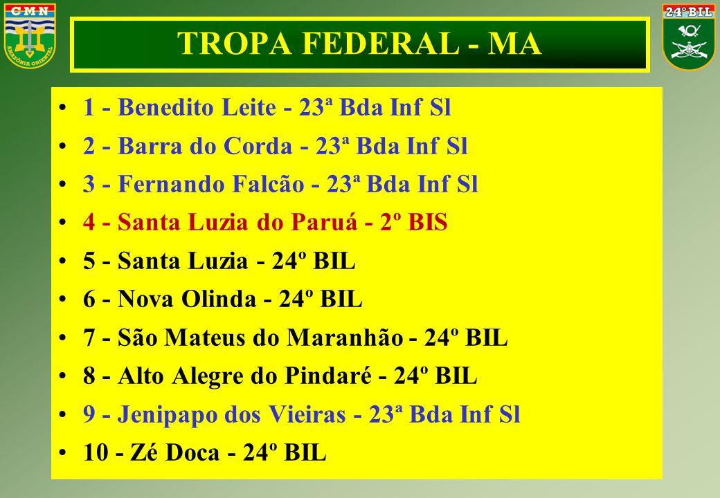 1 - Benedito Leite - 23ª Bda Inf Sl 2 - Barra do Corda - 23ª Bda Inf Sl 3 - Fernando Falcão - 23ª Bda Inf Sl 4 - Santa Luzia do Paruá - 2º BIS 5 - San