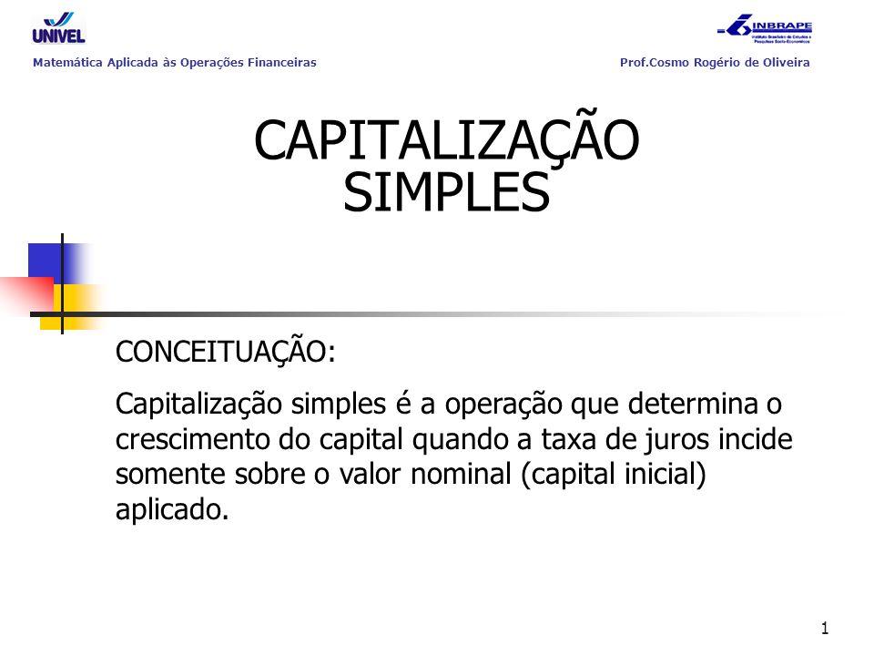 1 Matemática Aplicada às Operações Financeiras Prof.Cosmo Rogério de Oliveira CAPITALIZAÇÃO SIMPLES CONCEITUAÇÃO: Capitalização simples é a operação q