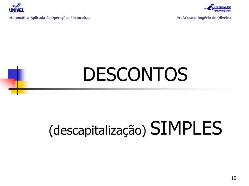 10 DESCONTOS (descapitalização) SIMPLES Matemática Aplicada às Operações Financeiras Prof.Cosmo Rogério de Oliveira