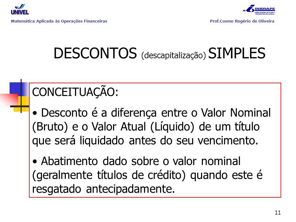 11 DESCONTOS (descapitalização) SIMPLES CONCEITUAÇÃO: Desconto é a diferença entre o Valor Nominal (Bruto) e o Valor Atual (Líquido) de um título que