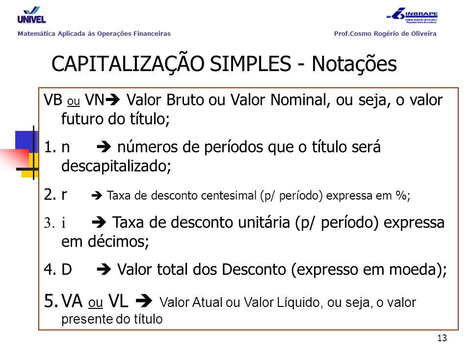 13 CAPITALIZAÇÃO SIMPLES - Notações VB ou VN  Valor Bruto ou Valor Nominal, ou seja, o valor futuro do título; 1.n  números de períodos que o título