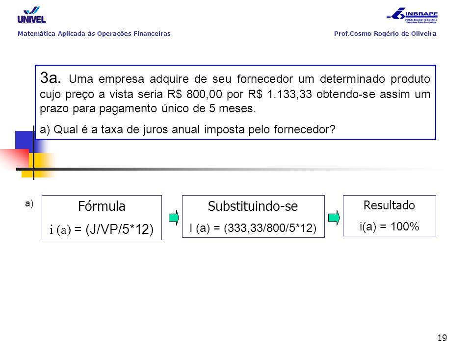 19 3a. Uma empresa adquire de seu fornecedor um determinado produto cujo preço a vista seria R$ 800,00 por R$ 1.133,33 obtendo-se assim um prazo para