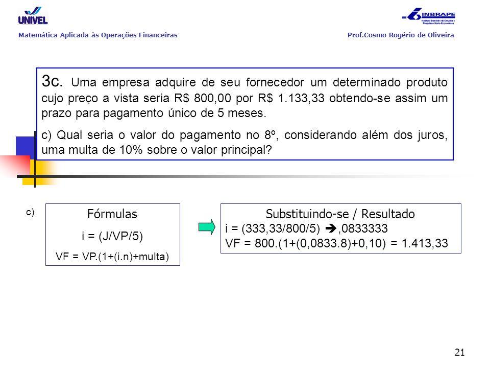 21 3c. Uma empresa adquire de seu fornecedor um determinado produto cujo preço a vista seria R$ 800,00 por R$ 1.133,33 obtendo-se assim um prazo para