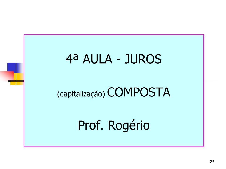 25 4ª AULA - JUROS (capitalização) COMPOSTA Prof. Rogério
