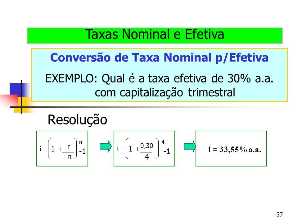 37 Conversão de Taxa Nominal p/Efetiva EXEMPLO: Qual é a taxa efetiva de 30% a.a. com capitalização trimestral Taxas Nominal e Efetiva Resolução i = r