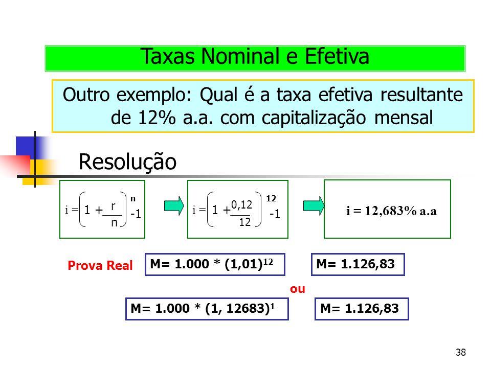 38 Outro exemplo: Qual é a taxa efetiva resultante de 12% a.a. com capitalização mensal Taxas Nominal e Efetiva Resolução i = r n n 1 + i = 0,12 12 1