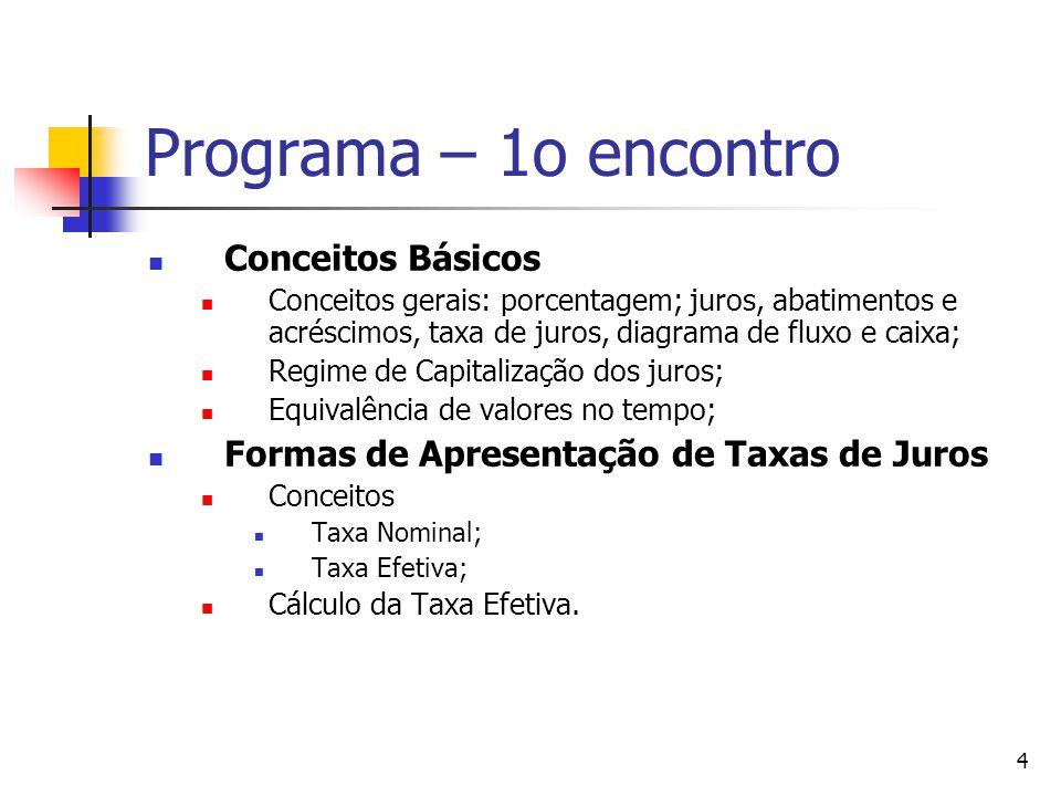 4 Programa – 1o encontro Conceitos Básicos Conceitos gerais: porcentagem; juros, abatimentos e acréscimos, taxa de juros, diagrama de fluxo e caixa; R