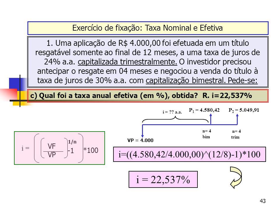 43 Exercício de fixação: Taxa Nominal e Efetiva 1. Uma aplicação de R$ 4.000,00 foi efetuada em um título resgatável somente ao final de 12 meses, a u