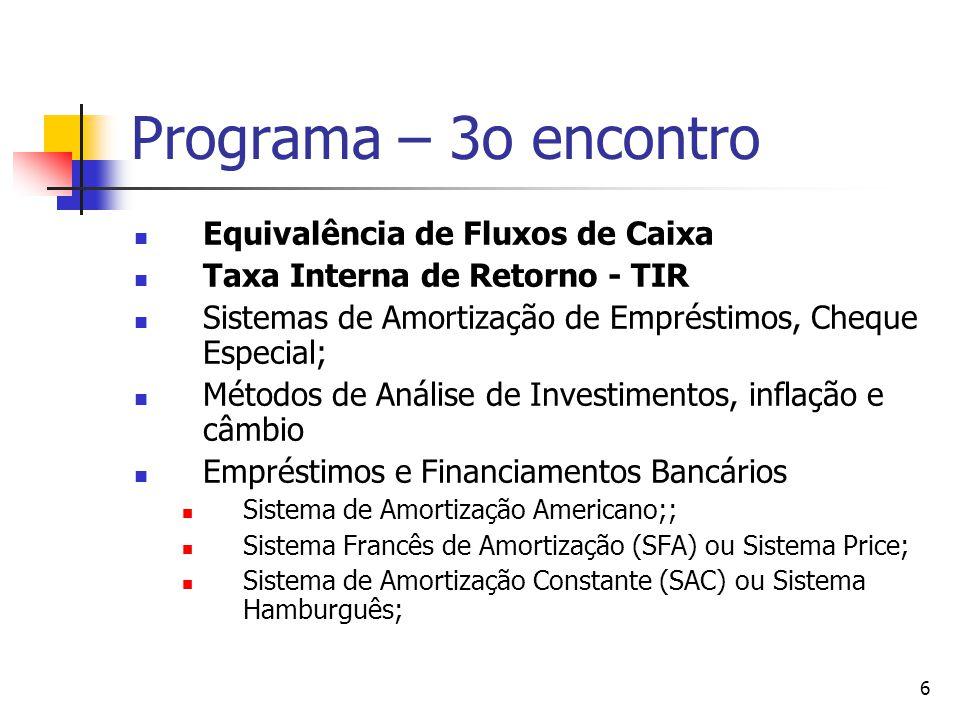 6 Programa – 3o encontro Equivalência de Fluxos de Caixa Taxa Interna de Retorno - TIR Sistemas de Amortização de Empréstimos, Cheque Especial; Método