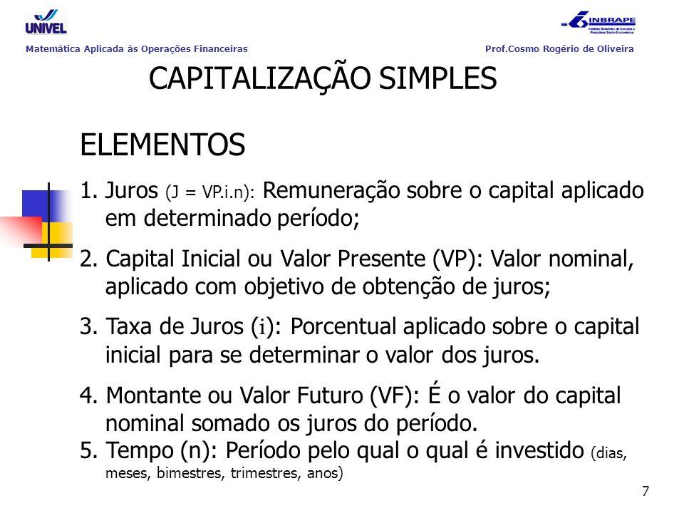 7 CAPITALIZAÇÃO SIMPLES ELEMENTOS 1.Juros (J = VP.i.n): Remuneração sobre o capital aplicado em determinado período; 2. Capital Inicial ou Valor Prese