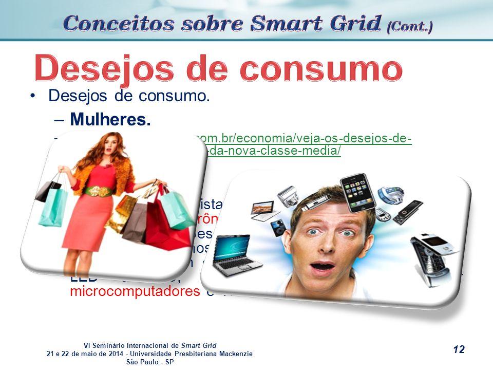 VI Seminário Internacional de Smart Grid 21 e 22 de maio de 2014 - Universidade Presbiteriana Mackenzie São Paulo - SP s Desejos de consumo.