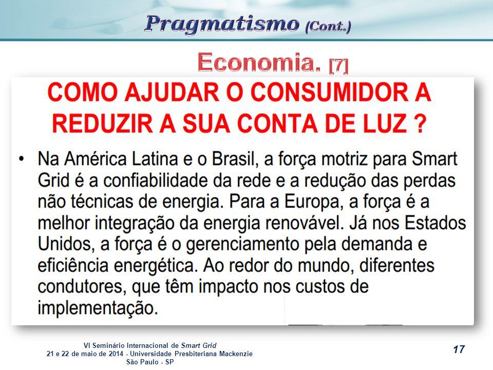 VI Seminário Internacional de Smart Grid 21 e 22 de maio de 2014 - Universidade Presbiteriana Mackenzie São Paulo - SP s EEconomia.