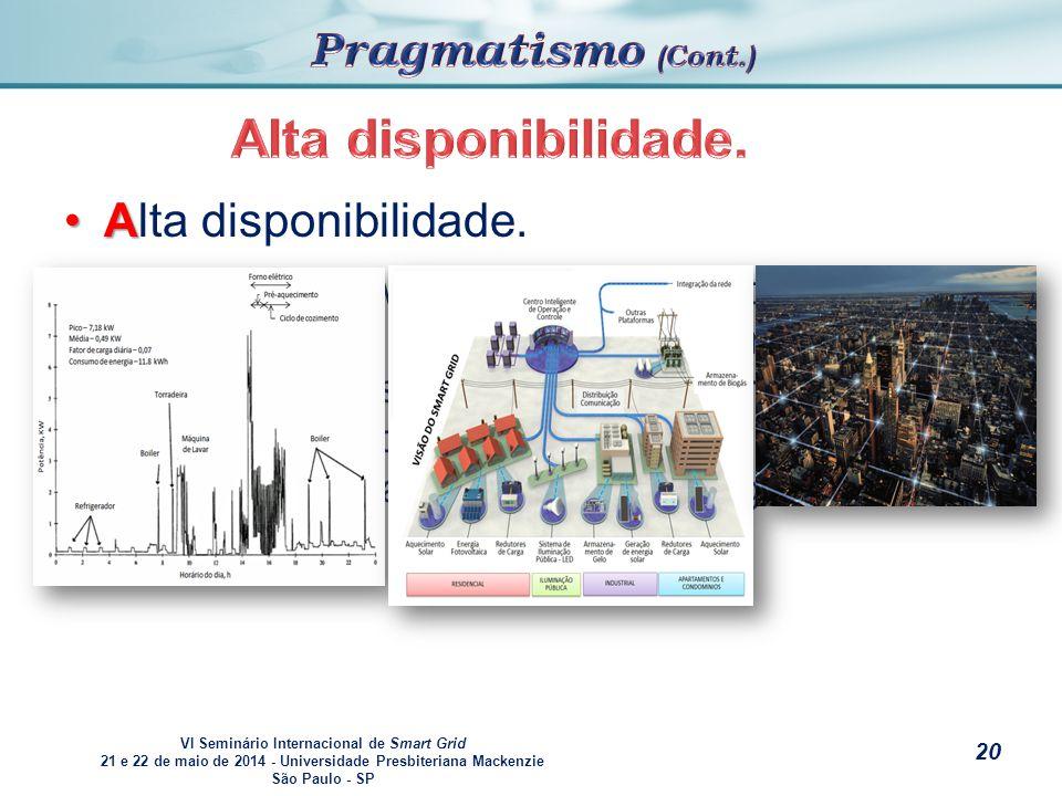VI Seminário Internacional de Smart Grid 21 e 22 de maio de 2014 - Universidade Presbiteriana Mackenzie São Paulo - SP s AAlta disponibilidade.