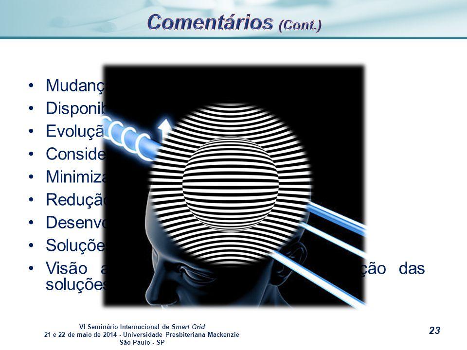 VI Seminário Internacional de Smart Grid 21 e 22 de maio de 2014 - Universidade Presbiteriana Mackenzie São Paulo - SP s Mudança comportamental.