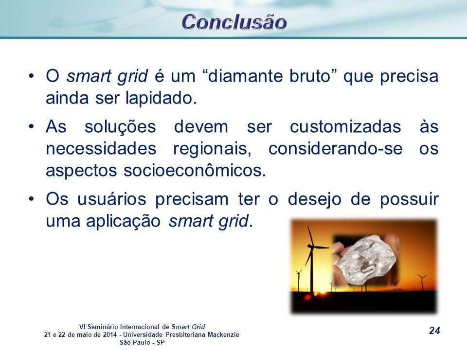 VI Seminário Internacional de Smart Grid 21 e 22 de maio de 2014 - Universidade Presbiteriana Mackenzie São Paulo - SP s O smart grid é um diamante bruto que precisa ainda ser lapidado.