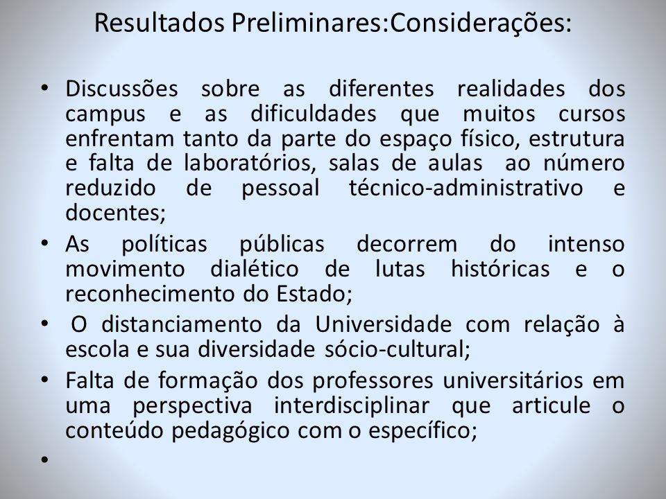 Resultados Preliminares:Considerações: Discussões sobre as diferentes realidades dos campus e as dificuldades que muitos cursos enfrentam tanto da par