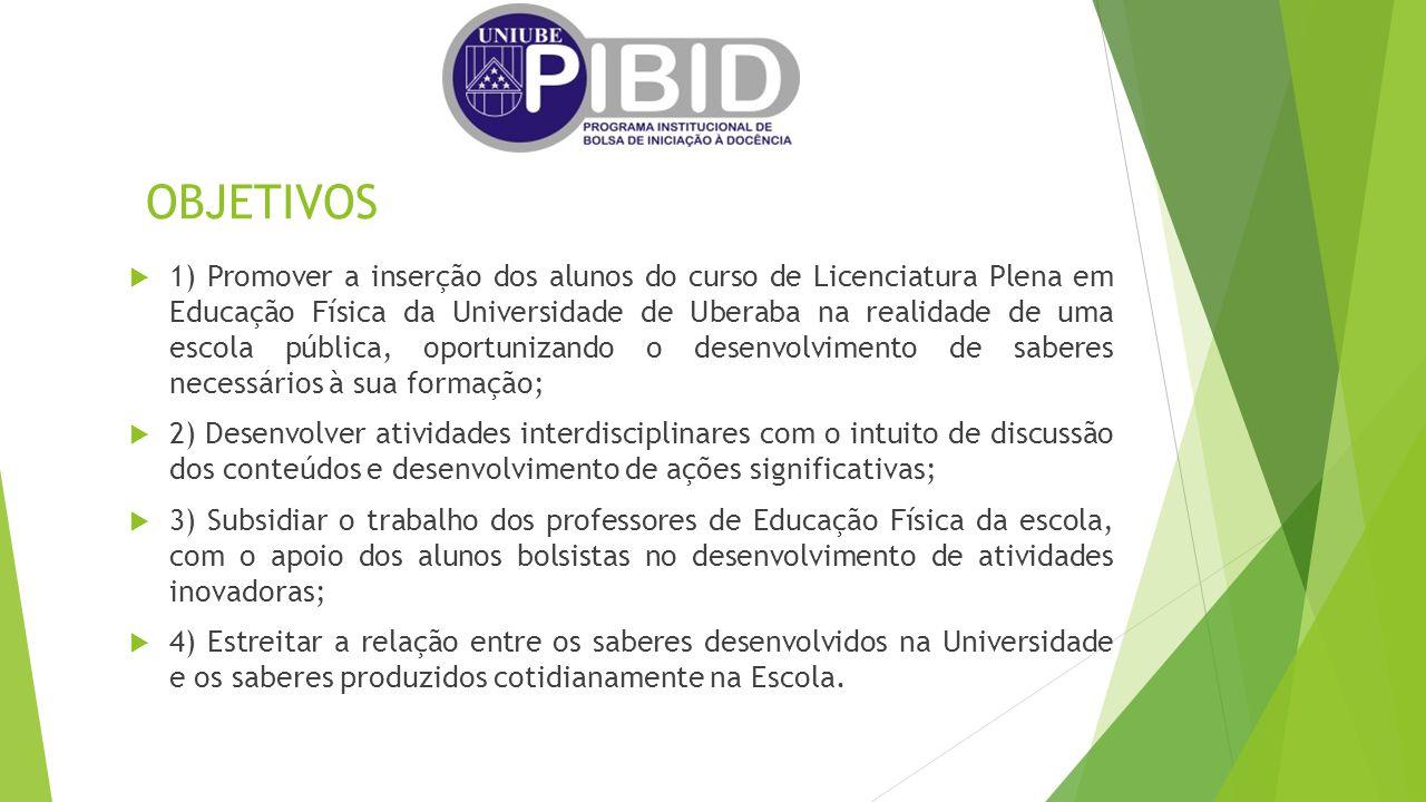 OBJETIVOS  1) Promover a inserção dos alunos do curso de Licenciatura Plena em Educação Física da Universidade de Uberaba na realidade de uma escola