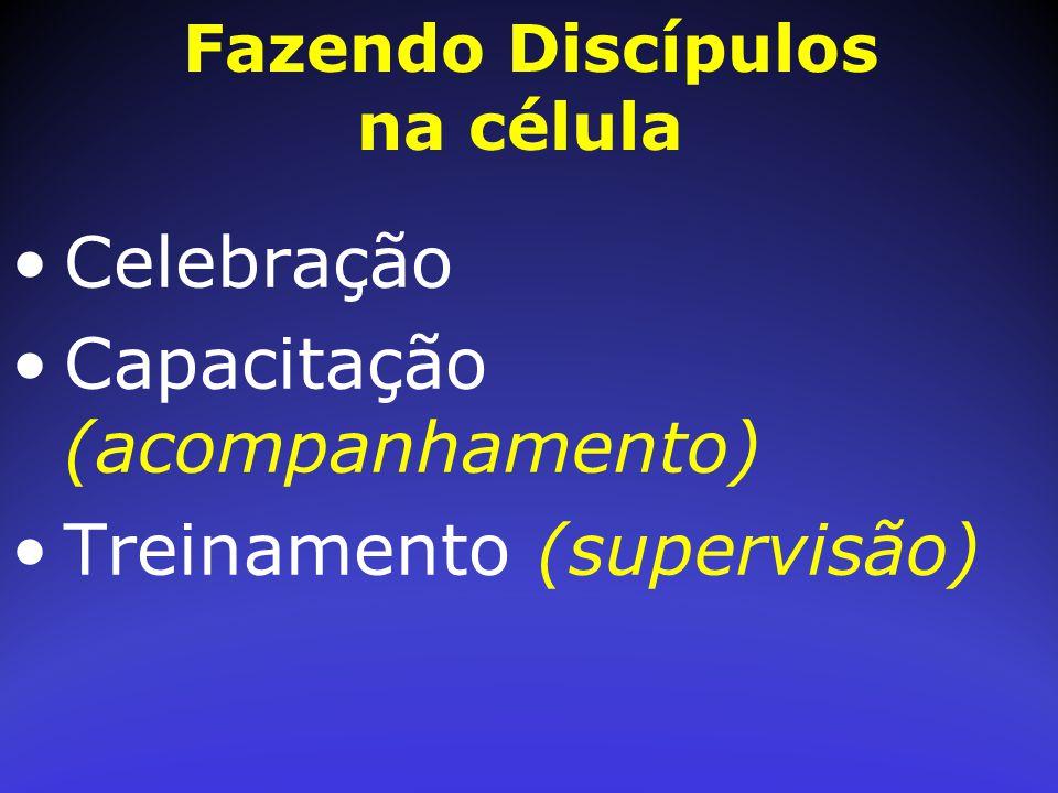 Celebração Capacitação (acompanhamento) Treinamento (supervisão) Fazendo Discípulos na célula