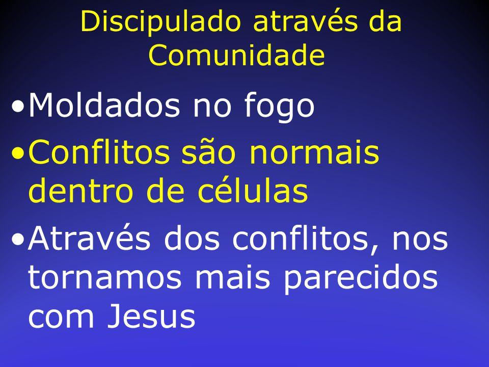 Moldados no fogo Conflitos são normais dentro de células Através dos conflitos, nos tornamos mais parecidos com Jesus Discipulado através da Comunidad