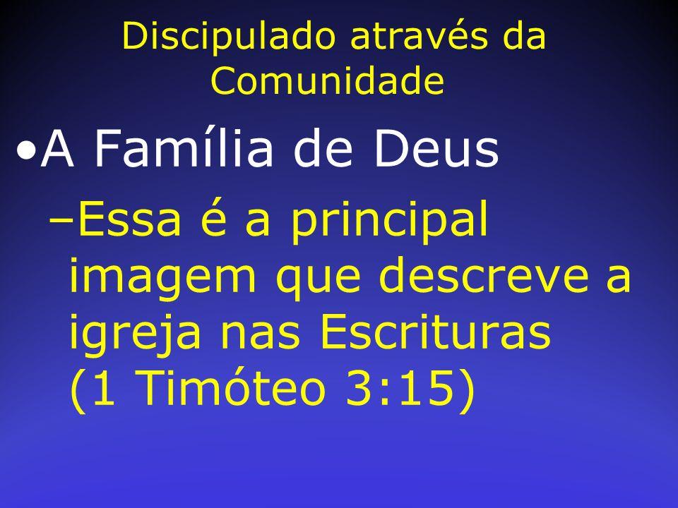 A Família de Deus –Essa é a principal imagem que descreve a igreja nas Escrituras (1 Timóteo 3:15) Discipulado através da Comunidade