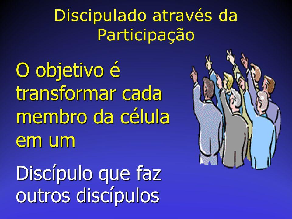 O objetivo é transformar cada membro da célula em um Discípulo que faz outros discípulos Discipulado através da Participação